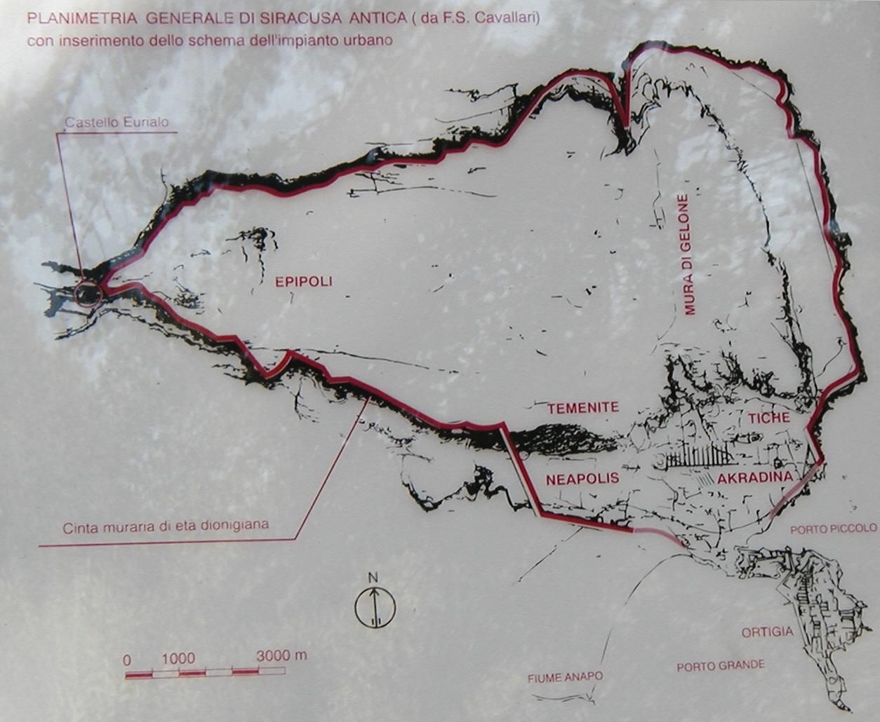 Mappa dell'antica Siracusa